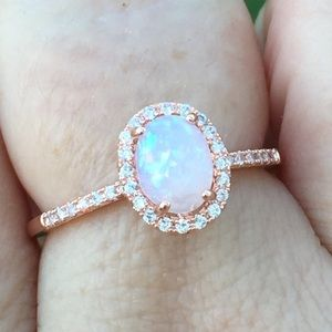 Jewelry - Fire Opal halo ring rose gold over silver